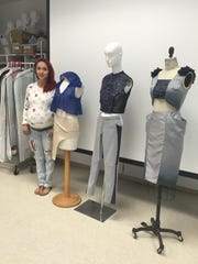 Pictured are the designs of COS student Carolina Ramos, 24, who is studying fashion design. The collection was inspired by the sea and ocean conservation, the Porterville resident said.
