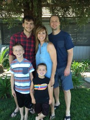 The Jefferson family from Visalia: Nathan (right) and his wife Brandyn with their children Kyle (18), Caleb (8) and Jonah (4).
