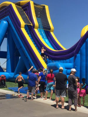 The water slide stood at four stories tall.