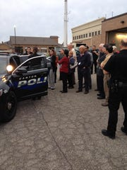 Citizens Police Academy participants learn the proper policies for traffic stops from Officer Jessica Nuottila.