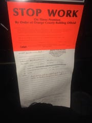 "A ""stop work"" notice ordered to stop construction on"