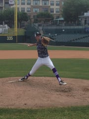 Billy Layne Jr. of Old Bridge throws on the mound at Dr. Pepper Ballpark in Texas, home of the Rangers' Double A affiliate Frisco Rough Riders, shorlty before the MLB 2015 first-year player draft