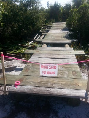 Vandalism to a bridge was reported July 9 at the Helen & Allan Cruickshank Sanctuary. Vandals tore off the rails of the bridge, which was built as an Eagle Scout project.