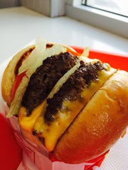 In & Out's double-double cheeseburger is the perfect size burger to fulfill your appetite.