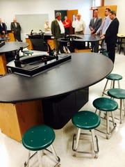 School officials and community leaders tour new state-of-the-art science labs included in a $4.7 million expansion of Gallatin High School on Wednesday.