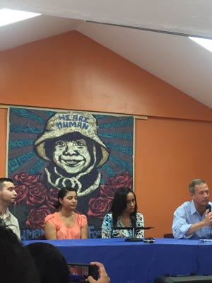 O'Malley speaking to crowd at DREAMer rally.