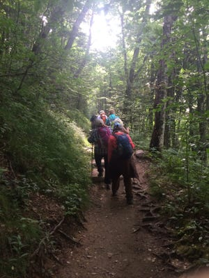 Hikers head up the Boulevard Trail to Mount LeConte in the Smokies on Monday. The Great Smoky Mountains is seeing increasing visitation so far this year over last.