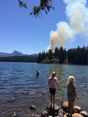 Kathy Moran was at Marion Lake on Saturday with her family when the fire broke out. It was visible from the bank of the lake.