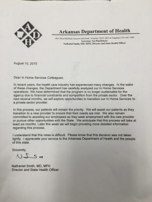 A submitted photo from a local employee shows a letter sent by the Arkansas Department of Health, detailing its decision to transition the In-Home Services program to the private sector.