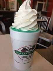 A vanilla custard and aqua fusion Italian ice at Zeppe's, one of several tasty ice cream shops in St. George.
