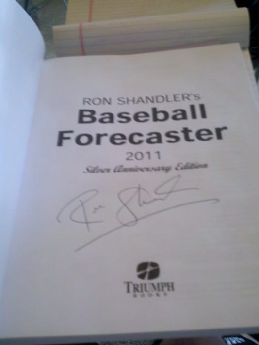 My 2011 edition of Baseball Forecaster, signed by Ron Shandler at last year's event.
