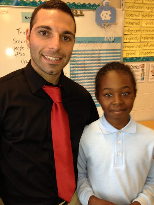 Thackston Charter School student Michael Parker, right, with his teacher, Wayne Hooper. (Submitted photo)