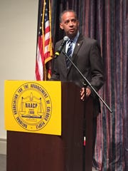 The Rev. Vincent Windrow talks about injustices in America at the 2015 NAACP Freedom Fund Banquet  in August.
