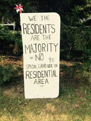 Near the site of a proposed mosque, a sign opposes it, on 15 Mile between Ryan and Mound in Sterling Heights