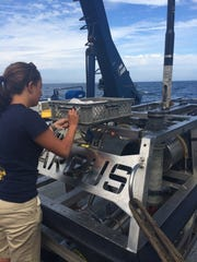 Junior Wendy Snyder pilots Hercules, one of two Roving Operational Vehicles aboard the Nautilus, for the first time.