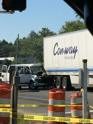 A van collided with a tractor trailer on Route 9 in Howell Friday morning.