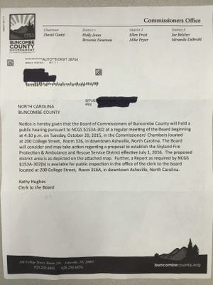 Buncombe County property owners are receiving letters similar to this one about changes in fire districts.