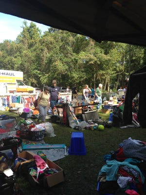 The expansive yard sale made people aware of dangers of distracted driving.
