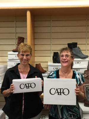 For several years, CATO stores have donated hundreds of empty shoe boxes for Operation Christmas Child. Jennifer Baker, left, Operation Christmas Child North Central Arkansas media coordinator, and Laurie Fahkenkamp, Mountain Home CATO store assistant manager, display some of the available shoe boxes. Each year, millions of shoe boxes are filled by volunteers and sent overseas to children who never receive Christmas gifts. National Collection week is Nov. 16-23. Those needing CATO boxes should call Melva Dite at 425-6006 or 404-2564.