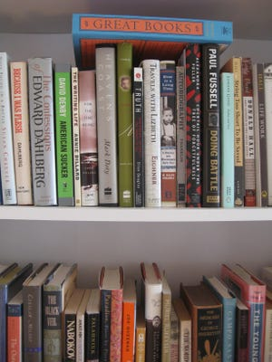 Some of the thousands of books in the Freeman home library non-fiction section.