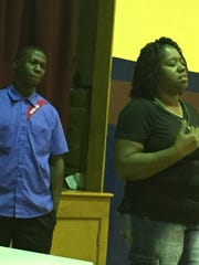 Yolanda Braziel and her son and Kelvin Braziel, also a student wtih SWAG Nation, spoke at the press conference in support of Commissioner Williams.