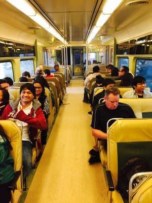 PATCO riders take the train from Lindenwold to Philadelphia during the recent papal visit. WiFi is now available for all PATCO riders.