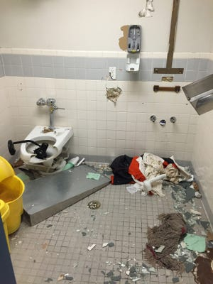 Rioting inmates heavily damaged a prison near Kingman early in July.