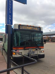 A Metro Ride bus stops at the Wausau depot on Oct. 9, 2015.