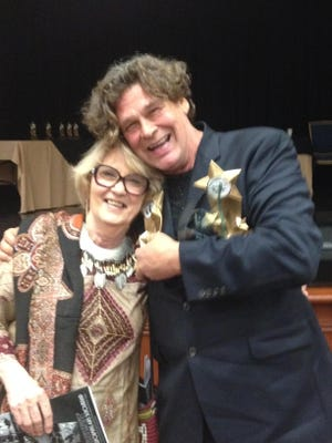 Steve Fisher, who won two Desert Theatre League awards for best directing Sunday, is seen in this file photo with his friend, Elissa Goforth, who was remembered at the ceremony in memorium. Fisher will host a celebration of life for Goforth on Nov. 7