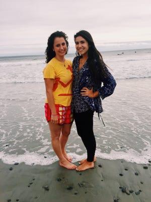 Cassidy DeStefano (right) with Monica Fernandez del Castillo at Kennebunk Beach in Maine.
