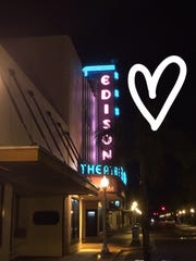 Edison Theatre sign in Fort Myers with a heart drown