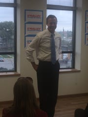 Martin O'Malley speaking to approximately 15 people Friday at the UFCW union hall in Denison.
