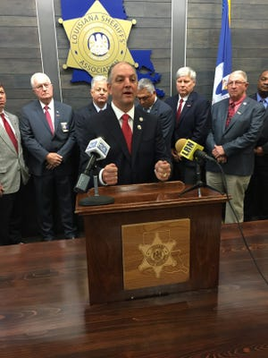 Democrat State Rep. John Bel Edwards was officially endorsed by the Louisiana Sheriffs' Association in Baton Rouge Friday.