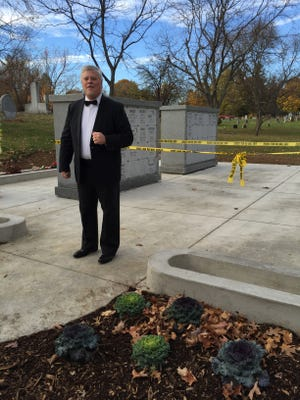 Rusty Cates portrayed historic radio personality Harold Arlin during a columbarium dedication at the Mansfield Cemetery's 170th birthday celebration. Arlin is buried near the Garden of the Four Seasons Columbarium in the cemetery.
