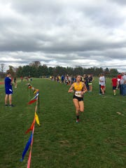 Waynesboro's Grace Brooks finishes the girls race at