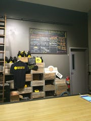 In addition to beer, visitors to Binghamton Brewing Co. can purchase swag like T-shirts and growlers.