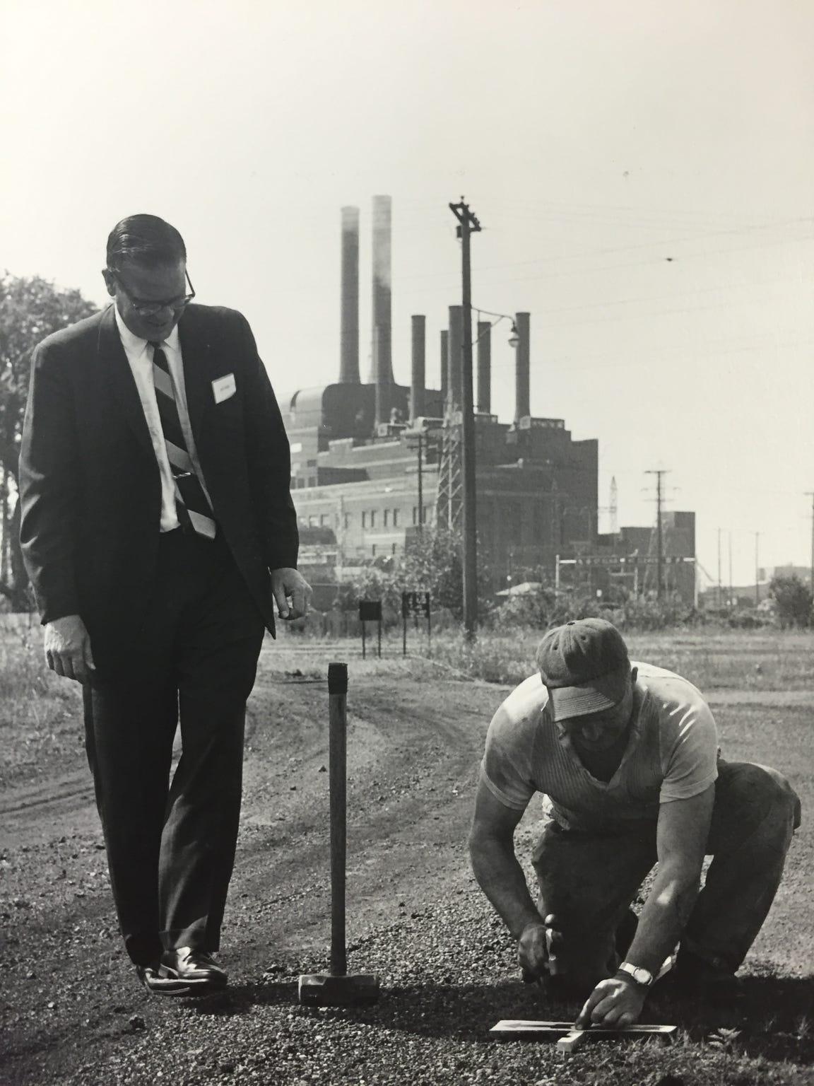 Detroit Edison employees break ground in 1965 on a