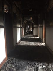 A charred hallway inside the convent that was damaged