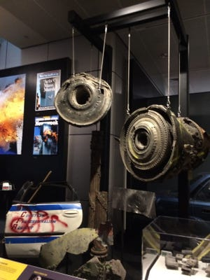 Engine parts from Flight 175 that hit the South Tower of the World Trade Center are part of an exhibit on terrorism at the Newseum in Washington, D.C.