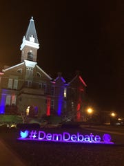 The #DemDebate sculpture went up Thursday night in front of Drake University's Old Main.