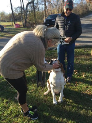 Mary Ann and Steve Velluto from Swoope prepare to take their dog, Daisy Mae on a stroll through Coyner Springs Park Saturday as part of the Run Fur Fun 5K run and walk fundraiser for the Augusta Dog Adoptions.