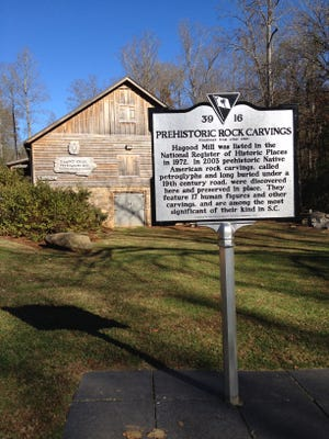 Prehistoric petroglyphs at Hagood Creek north of Pickens are preserved for modern humans to ponder. Interpretive center focuses on the rock carvings and Native American life.