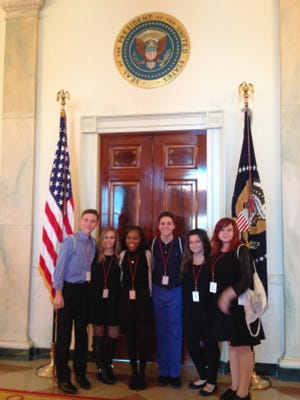 Students from the Performing Arts School at the Mayo Performing Arts Center at the White House for a workshop and performance to be aired Thanksgiving night on the TLC network. From left are Christian Harvey, Rachel Levy, Brittaney Duhaney, Justin Chimoff, Amanda Fletcher and Samantha Alexander.