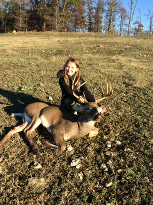 Grayson Havner, of Norfork, got her first deer during a youth hunt in November. Havner is 10 years old. The buck was 11 points with a 16-inch spread and was taken in Mount Pleasant.