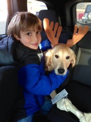 Jack with Lucy, his reindeer/golden retriever.