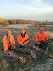 Three generations of Peroutkas hunt together on public land in Manitowoc County. They each shot a deer on opening day of 2015. From left: Bill Peroutka turned 73 Nov. 20; Tom Peroutka Jr.; and Tom Peroutka.