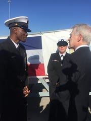 Navy Secretary Ray Mabus, right, speaks with Mississippi natives Command Senior Chief Ken Ballard and Machinist's Mate First Class Shashannah Parson in December. Rep. Steven Palazzo, R-Miss., wants to restrict Mabus' options for naming ships.
