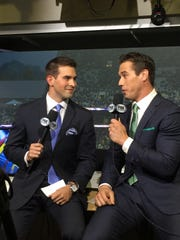 Potterville native Joe Davis, left, talking with Brady Quinn, has signed a multi-year deal to announce games for the Los Angeles Dodgers.