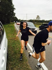 Florida State's Teresa Ristow hands the baton to a teammate during the Seminoles' annual Run Across the State Relay last weekend. The event raises money for charity.