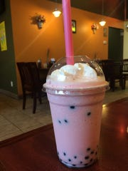 Strawberry boba tea at Pho 85 in Ankeny.